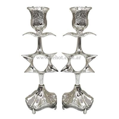 Set Candelabro Shabat Silver Plate